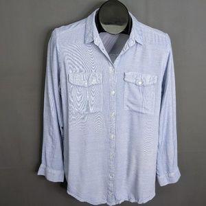 Divided H&M Top Shirt Size 10 Blue Womens Button